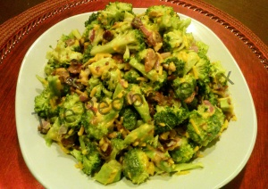 broccoli cheddar salad with title