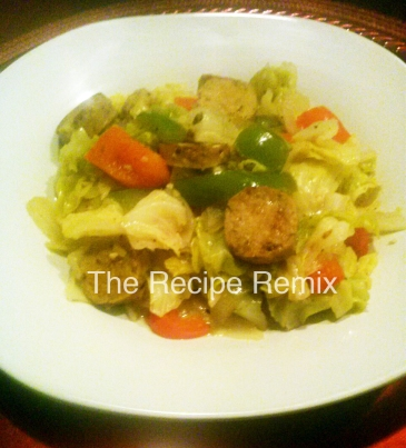 cabbage stir fry with soy sausage